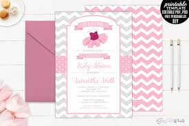 tutu baby shower invitation template pr design bundles