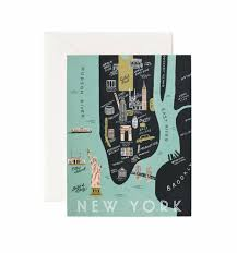 New York Manhattan Map Manhattan Map Greeting Card By Rifle Paper Co Made In Usa