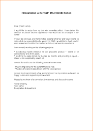 resignation letter best resignation letter 1 month notice sample