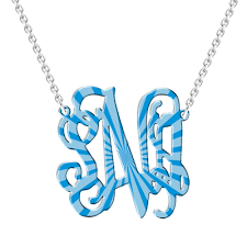 Personalized Monogram Necklace Ripple Personalized Monogram Necklace Silver New