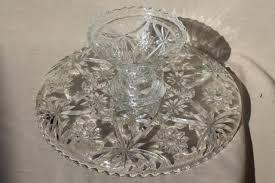 Crystal Pedestal Cake Stand Glass Cake Stand Vintage Anchor Hocking Pres Cut Star Pattern