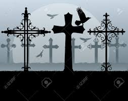 religious background of halloween halloween spooky graveyard cemetery vintage background with