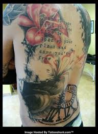 Big Flower Tattoos On - color large flower abstract on back large flower