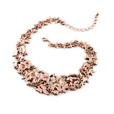 rose gold necklace fashion images Wholesale rose gold rhinestone flower statement chunky choker jpg