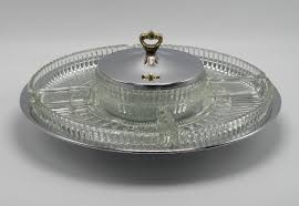 Glass Lazy Susan Turntable vintage kromex lazy susan rotating appetizer relish tray server