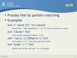 pattern matching using awk exles linux intermediate its research computing center c d poon ph d