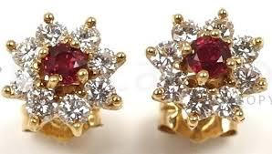 gold earrings in shape shape white diamond ruby earrings in 14kt yellow gold