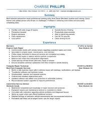free auto resume maker best entry level mechanic resume example livecareer