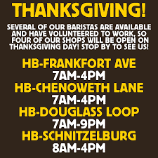 thanksgiving hours heine brothers coffee