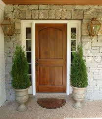 Contemporary Entry Doors Wood Front Door Urn Planters Brass Carriage Lanterns Stone Wall