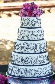 Purple And White Wedding Black And White W Purple Wedding Cake Cakecentral Com