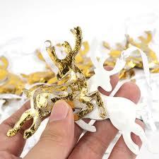 reindeer tree decorations 24pcs gold white metal deer