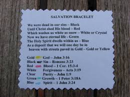 what does the color blue represent a scriptures card to correlate with each color bead on a salvation