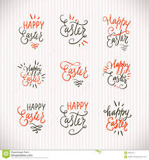 hand written lettering easter phrases or quotes set greeting card