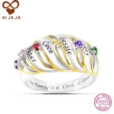 custom sted necklace aijaja 925 sterling sliver two tone family birthstone custom rings
