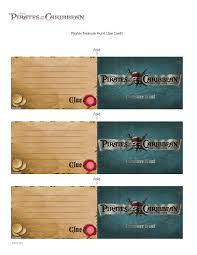 pirates of the caribbean treasure hunt clue cards disney family