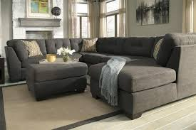 modern attractive grey microfiber sectional sofa chaise on