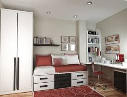 modern accessories for minimalist teen bedroom with red carpet and