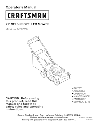 craftsman lawn mower 247 37683 user guide manualsonline com
