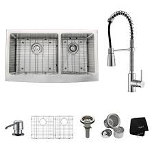 kraus khf203 36 kpf1612 ksd30ch 36 inch farmhouse double bowl kraus khf203 36 kpf1612 ksd30ch 36 inch farmhouse double bowl stainless steel kitchen sink with chrome kitchen faucet and soap dispenser touch on kitchen