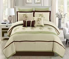 8 piece oversize sage green beige brown tropical palm tree
