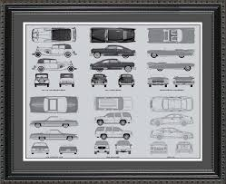 Wall Blueprints by Cadillac Automobile Blueprint Art Wall Hanging Auto Car Gift