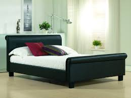 Black Leather Sleigh Bed Black Leather Wood Bed Frames With Boxspring Click On