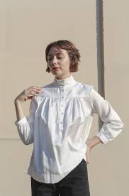 horses atelier high collar blouse in ivory garmentory