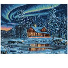 dimensions counted cross stitch kit cabin
