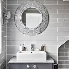 Modern Contemporary Bathroom Mirrors by Modern Grey Bathroom With Round Mirrors Bathroom Decorating Ideal