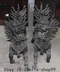 qilin statue bronze cloisonne enamel gilt auspicious kylin chi