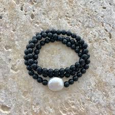 onyx pearl bracelet images Triple wrap onyx bead stretch bracelet with freshwater pearl jpg