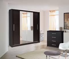 Glass Wardrobe Doors Double Wardrobe With Mirrored Sliding Doors Saudireiki