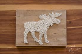 moose string art wildlife art wood decor rustic wood decor
