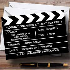 personalised halloween party invitations hollywood movie clapboard clapper theme personalised birthday