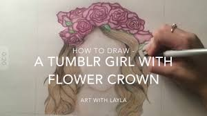 how to draw a with flower crown time lapse youtube