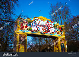 winter entrance sign market stock photo