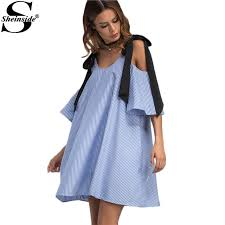 cold shoulder dress sheinside contrast tie cold shoulder dress blue vertical