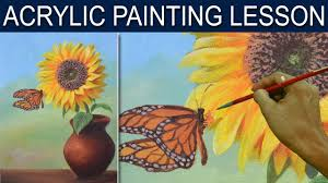 sunflower and the butterfly in basic by acrylic painting