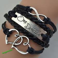 leather hand bracelet images Hot sell one direction love heart hand knitted leather charms jpg~o