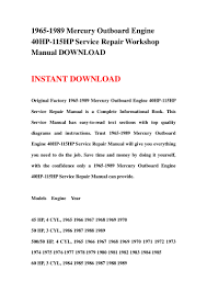 1965 1989 mercury outboard engine 40hp 115hp repair manual