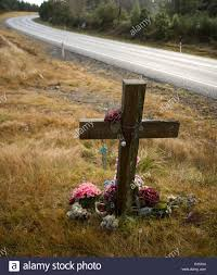 memorial crosses for roadside cross beside state highway one near turangi new zealand probably a