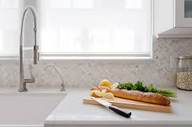 marble mosaic subway tile backsplash outofhome