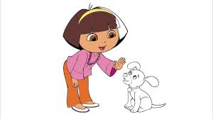 dora the explorer coloring page 3 dora and perrito little