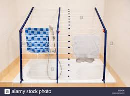 Folding Clothes Dryer Rack Foldable Over Bath Folding Clothes Horse Drying Rack Stock Photo