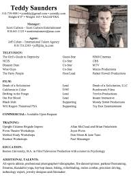 exles of actors resumes gallery of musical theatre resume template