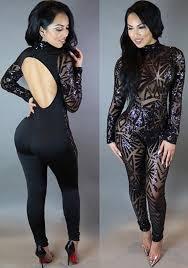 bodysuit jumpsuit black sparkle sequins backless see through slinky clubwear
