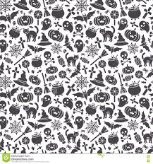 halloween seamless backgrounds halloween seamless pattern black icons on white stock vector