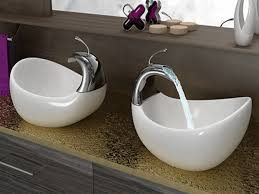 Wash Basin Designs by Twin Washbasin On Green Granite Countertop Of Small Dark Gray