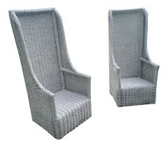 High Back Chairs by Vintage Rattan High Back Chairs Pair Chairish